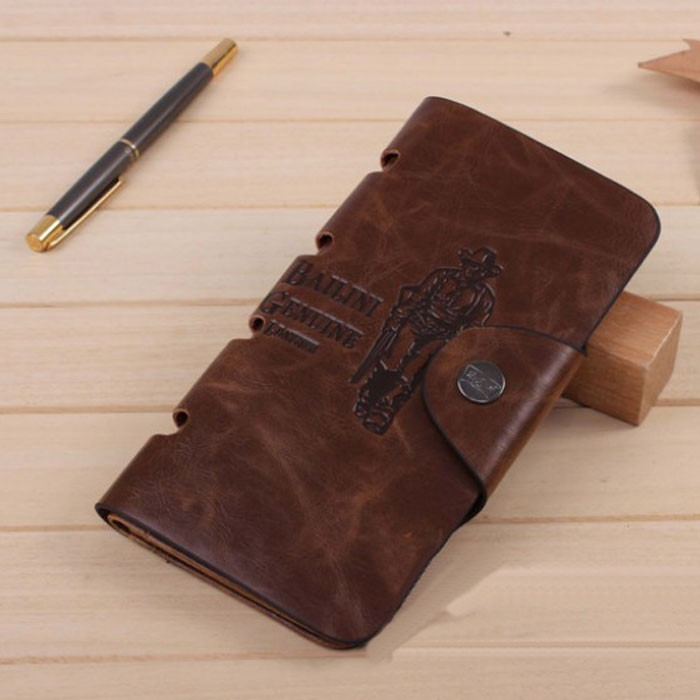 2018 New Mens Leather Long Wallet Pockets ID Card Clutch Bifold Purse High-Capacity Multi-Card Bit Long Wallet Clutch Men