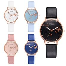 New Fashion Buttterfly No Number Faux Leather Band Analog Women Quartz Wrist Watch