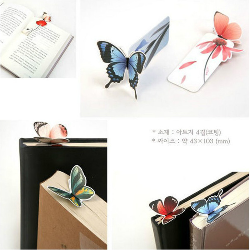 1 set Bookmark Butterfly Style Teacher's Gift Book Marker Stationery Gift Realistic Cute Kawaii Cartoon 3d Bookmark 3