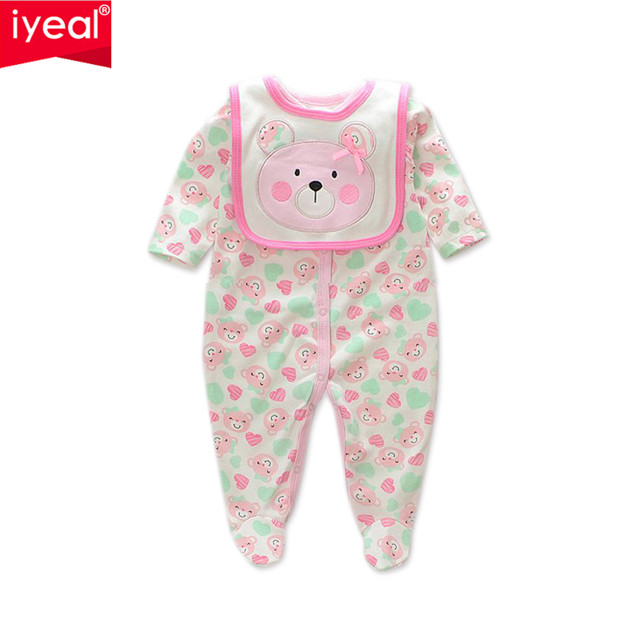 IYEAL Unisex Baby Clothes Newborn Cartoon Bear Long Sleeve Jumpsuit with Bib 100% Cotton Baby Boy Girl Romper Infant Clothing unisex winter baby clothes long sleeve hooded baby romper one piece covered button infant baby jumpsuit newborn romper for baby