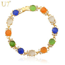 U7 Colorful Bracelet Made With AAA Zircon & Opal Trendy Gold Color Link Chain Zirconia Bracelets For Women Gift H411(China)