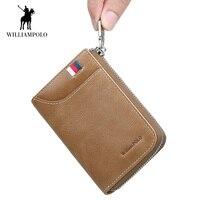 WilliamPolo Vintage Men's Wallet Accordion Credit Card Holder Genuine Leather Multi Card Case Cash Coin Purse Short Zip Around