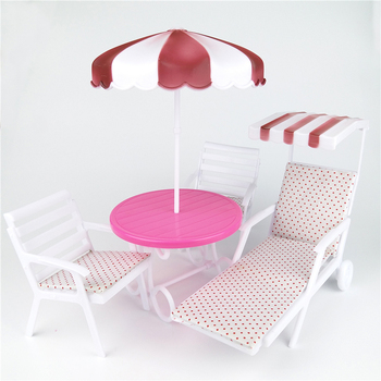 Garden Furniture Play set for Barbie House can be Outdoor Beach Sunshade Umbrella Lounge Chair for Patio, Pool Doll Accessories image