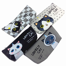 1pcs/lot NEW Lovely Cat PU Pencil Case Large Capacity Pen Bag Sweet For School Suppiles