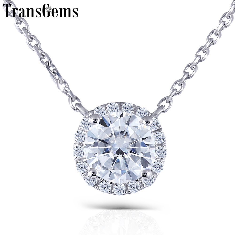 TransGems Solid 14K 585 White Gold 1ct FGH 6 5mm Moissanite Diamond Halo Pendant Necklace for