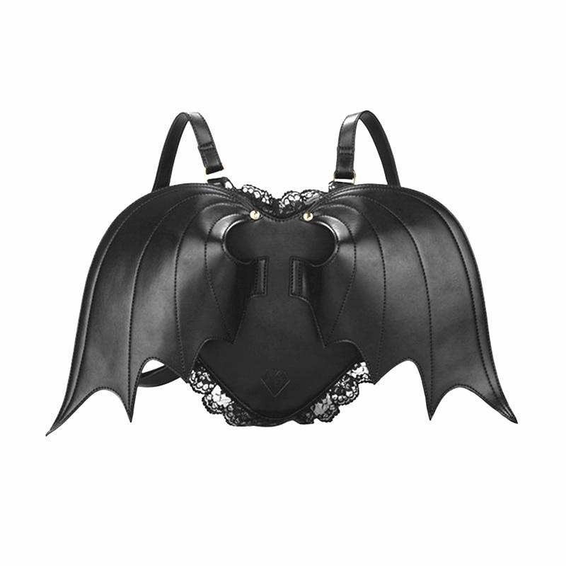 2016 Stylish Bat Wing Backpack Women Punk Newest Bags Cute Little Devil Daypacks Female Bat Bag