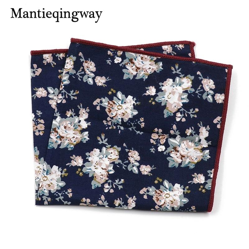 Mantieqingway Fashion Suits Flower Printing Pocket Square 23cm*23cm Men's Cotton Handkerchiefs Chest Towel Ladies Hanky Hankies