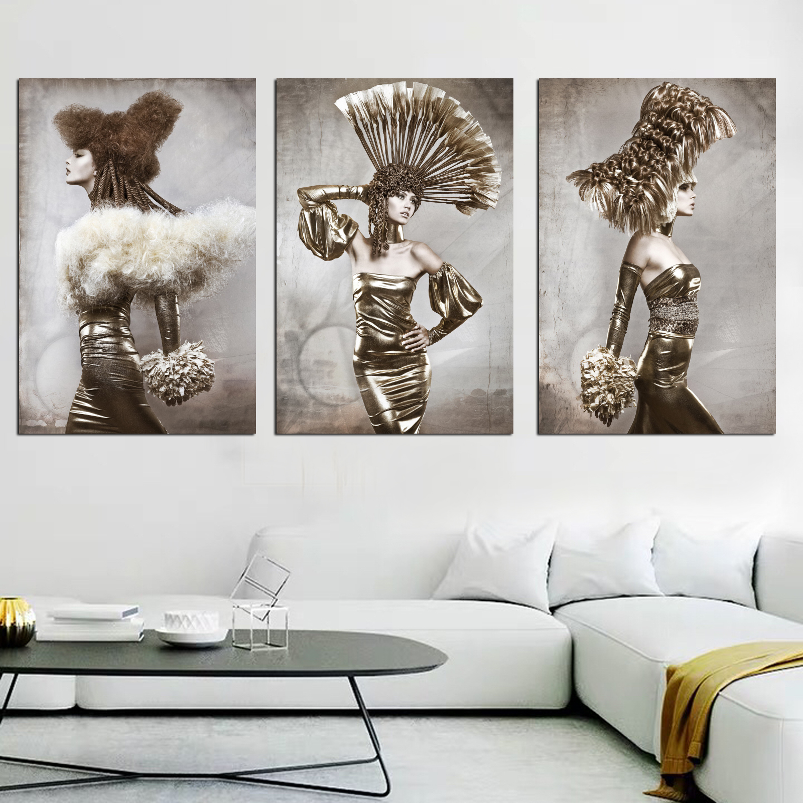 Vintage Vogue Woman Wall Art Canvas Framed Print Painting Posters and Prints Pictures Modern Home Decoration