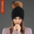2016 Ocasional das Mulheres Zíper de Malha Chapéus de Inverno Quente Guaxinim Naturais pele Pom Pom Gorros Gorro De Lã Feminino Chapéu de Outono Para senhoras