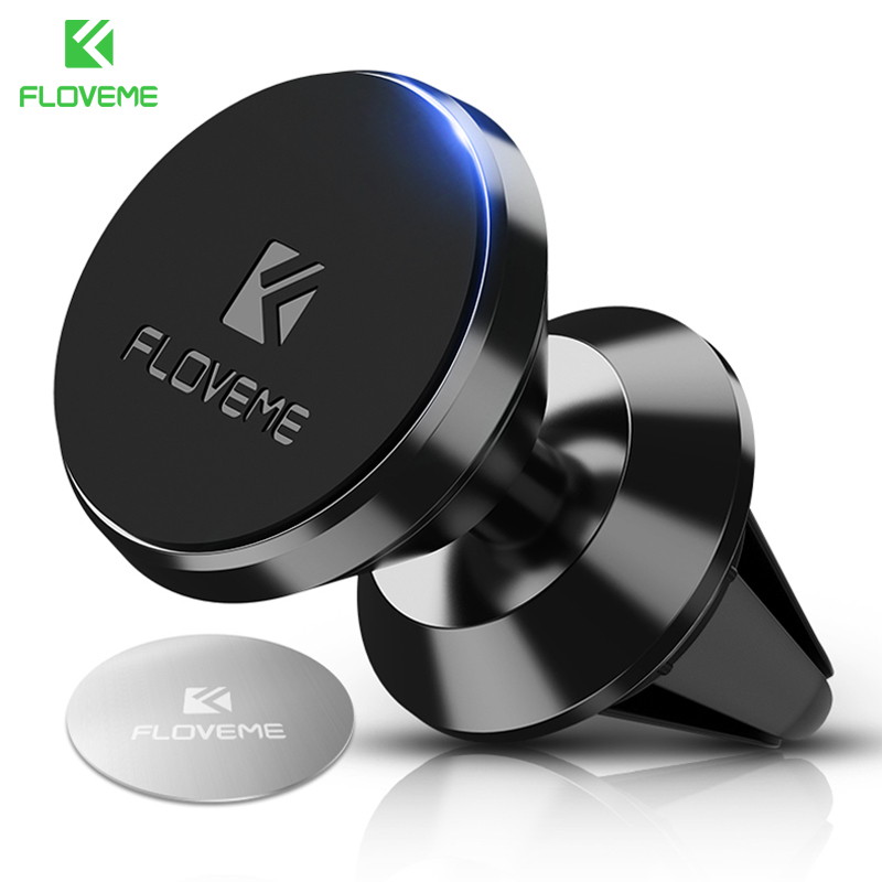 FLOVEME Magnetic Car Phone Holder For IPhone Samsung 360 Air Mount Magnet Holder Stand For Mobile Phone In Car GPS Holders Mount