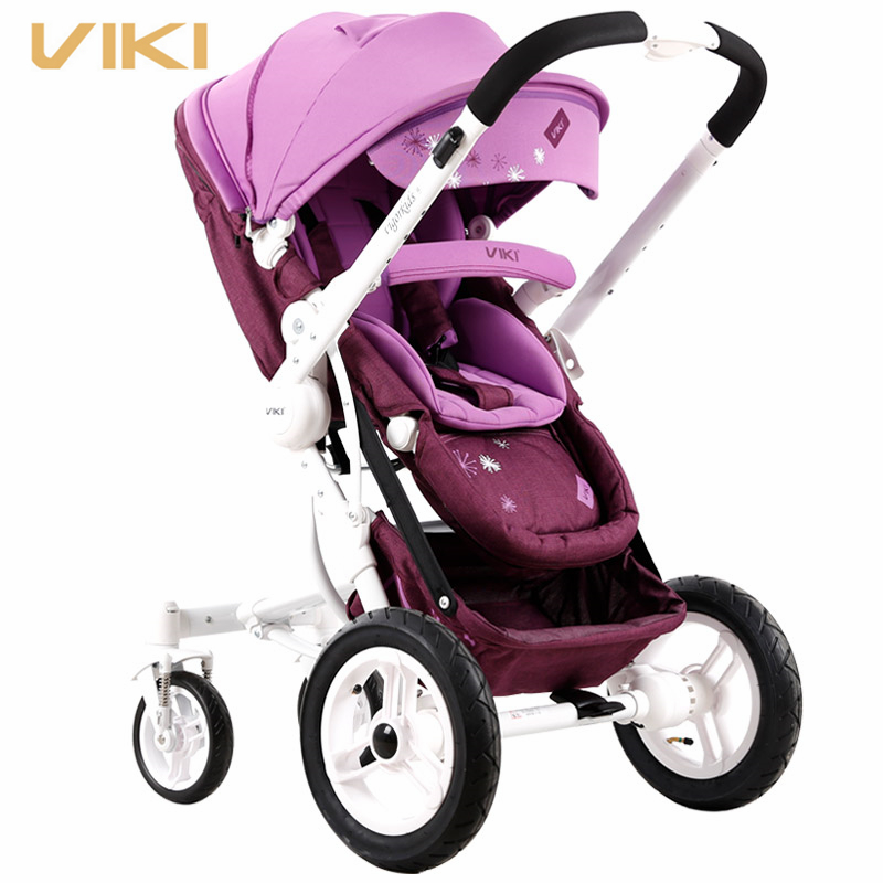 VIKI High Landscape Suspension Baby Stroller/ Pram, Children Pushchair/ Trolley, Baby Carriage Can Sit & Lie Down baby stroller high landscape can sit and lie trolley high quality folding baby cart children s pram