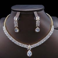 for women fashion India Dubai African bridal bridesmaid engagement Wedding zircon Jewelry Set crystal necklace beads