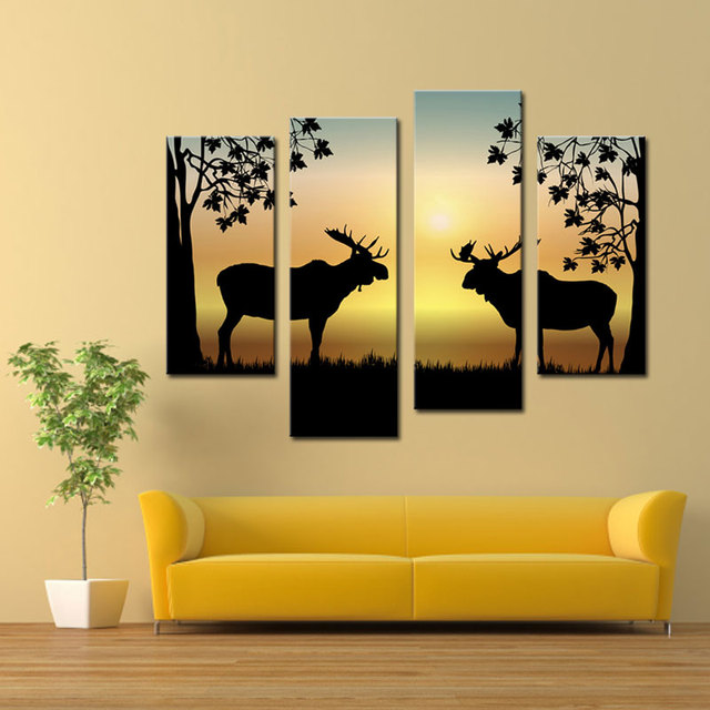 4 Pieces Deer Painting Artworks Golden Background Animal Picture ...