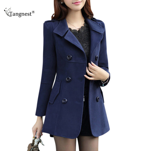 TANGNEST Women Trench 2017 New Plus Size M-3XL Women Jacket Ladies Pea Coat Slim Double Breasted Blended Coats WWN717