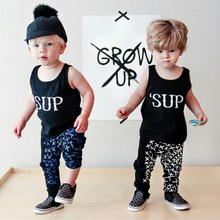 High Quality Summer Newborn Baby Cloths Letter Printed O-Neck Sleeveless Top Harem Pant Kids Boys Clothing Set Children Suits
