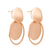 Trendy Stainless Steel Frosted Round Drop Earrings For Women Simple Rose Gold Color party Earring Jewelry girl Gift