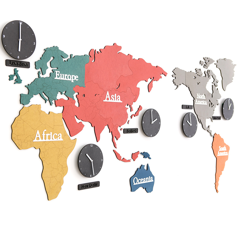 Large creative colorful world map clock bedroom mute wall clock large creative colorful world map clock bedroom mute wall clock living room modern hanging clocks decorate home in wall clocks from home garden on gumiabroncs Gallery