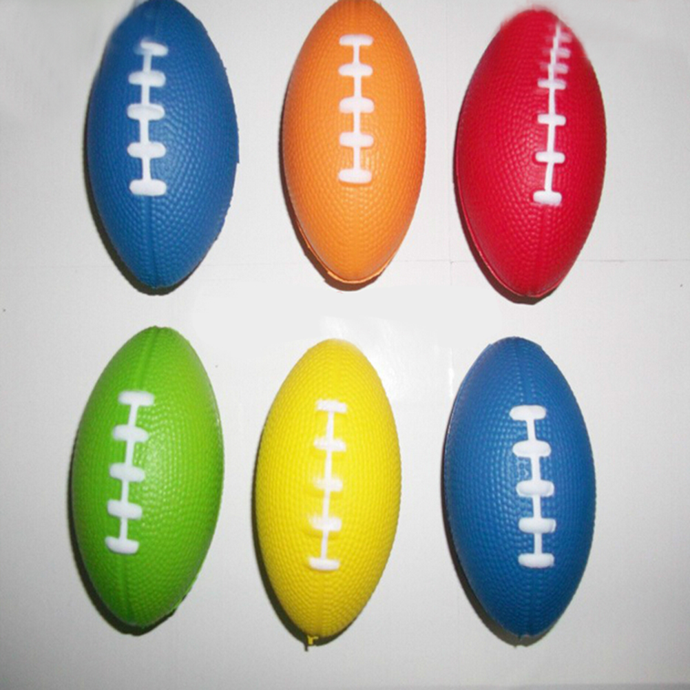 NEW RUGBY BALL SHAPED ANTI-STRESS RELIEVER STRESSBALL SPORTS NOVELTY TOY SQUEEZE