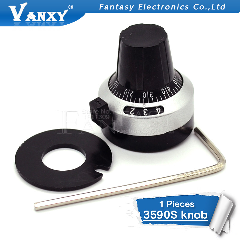 1PCS 3590S 6.35 mm precision scale knob potentiometer knob equipped with multi-turn potentiometer1PCS 3590S 6.35 mm precision scale knob potentiometer knob equipped with multi-turn potentiometer