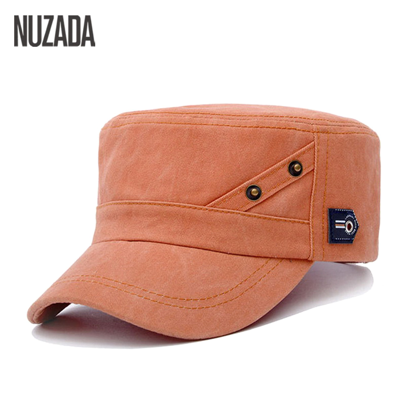 Brands NUZADA 2017 Summer Autumn Men Women Unisex Flat Top Cap Military Hats Classic Vintage Cotton Visor Hat  pdd-001