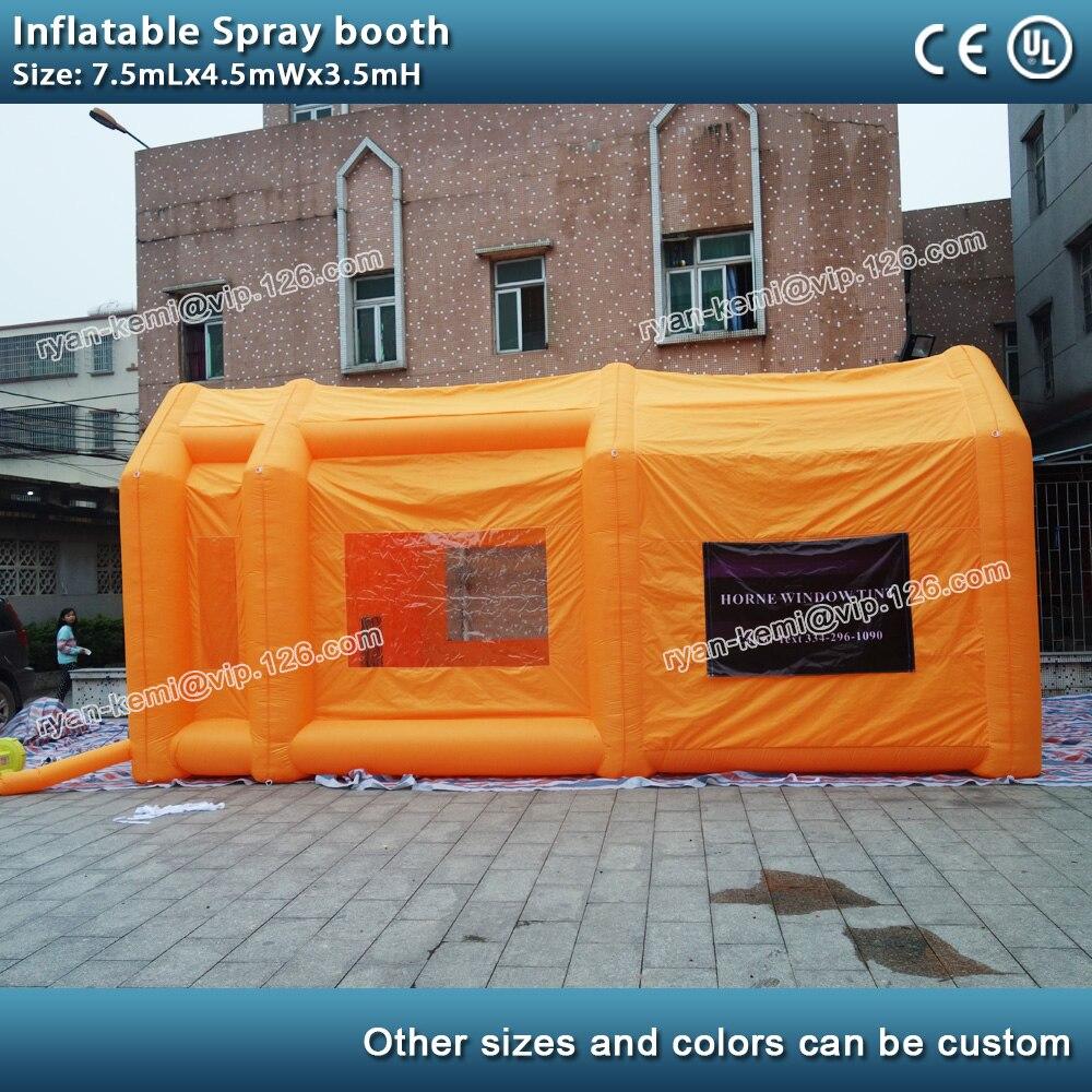 7.5mLx4.5mWx3.5mH gonflable pulvérisation cabine de peinture mobile gonflable peinture tente pour la réparation automobile gonflable cabine de pulvérisation avec ventilateur
