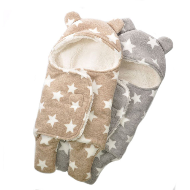 f23ea8f022 Pijama recién nacido suave cálido lindo sombrero estrella orejas bebé saco  de dormir grueso lana invierno