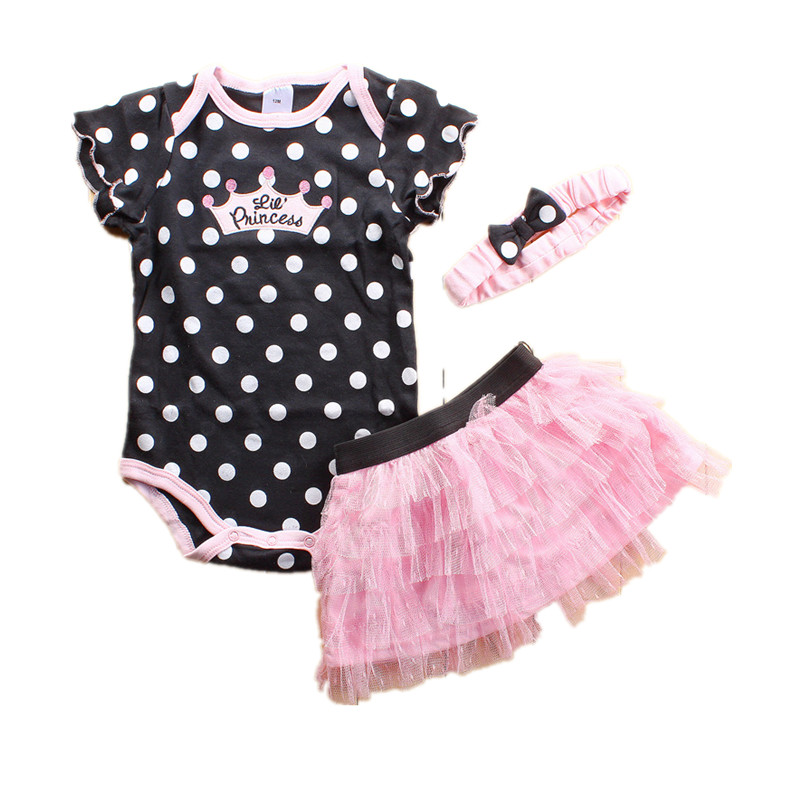 Summer Baby Girl Clothes Newborn 3-Piece Clothing Sets Kids Infant Outfits Suit Girls Bodysuit (Romper + Skirt + Headband)