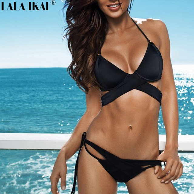 780c64dc33 LALA IKAI Swimwear Women Bikini Set Small Fresh Sexy Topless Backless Solid  Color Tight Bikini Swimsuit YWB0221-45