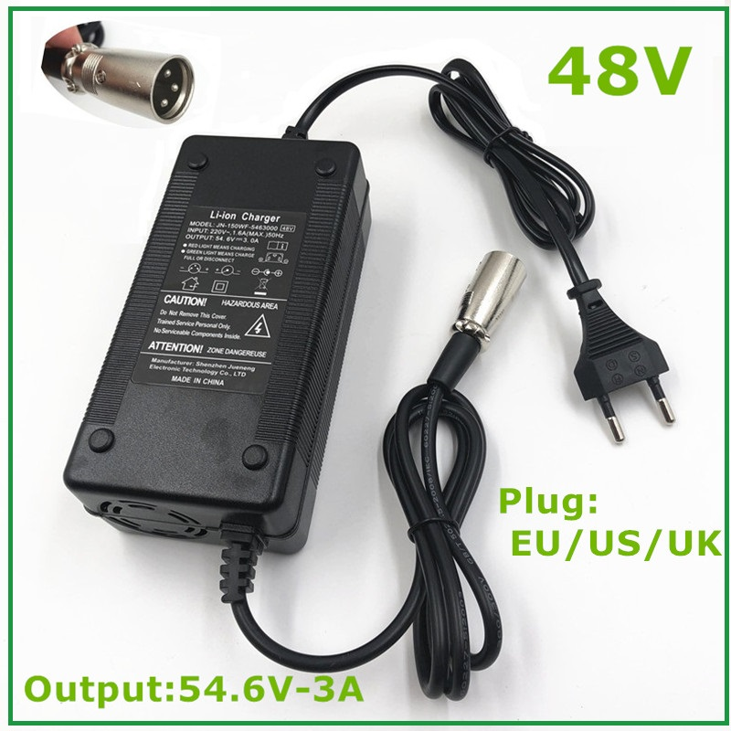 54 6V3A Charger 54 6V 3A Electric Bike Lithium Battery Charger for 48V Li-ion Lithium Battery Pack  XLR Plug  54 6V3A Charger