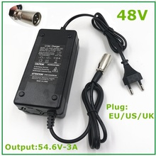 54.6V3A Charger 54.6V 3A Electric Bike Lithium Battery Charger for 48V Li ion Lithium Battery Pack  XLR Plug  54.6V3A Charger