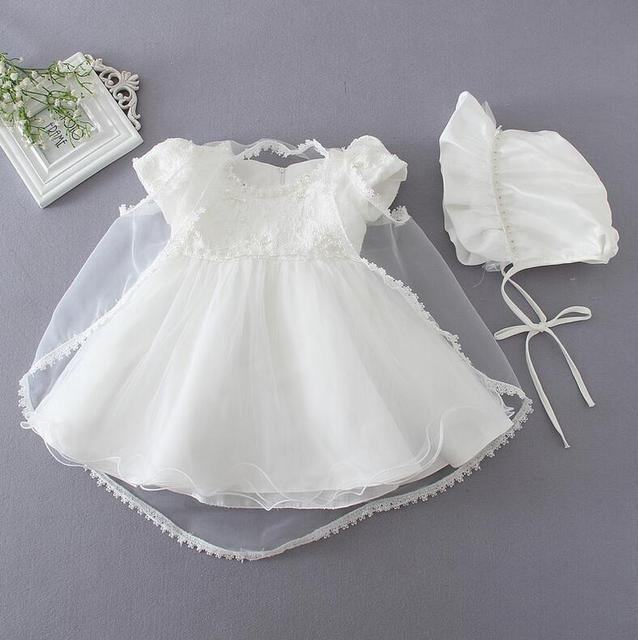 da1cb8c5bb lace baby girl christening gowns 1 year birthday dress summer wedding dress  elbise bapteme bautizo robe de mariage 3pcs sets