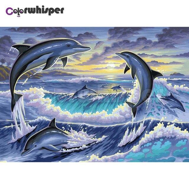 Diamond Painting Full Square Round Marine Animals Dauphin Senset