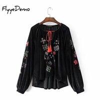 FlyyeDemo Women Vintage Floral Embroidery Black Velvet Jacket 2017 Autumn New Sexy V Neck Lace Up