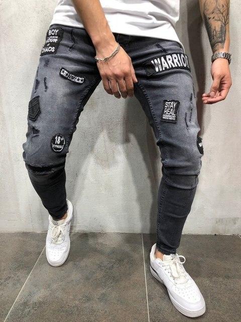 NEW 2019 fashion men's hole embroidery jeans Hip-hop slim men jeans 1