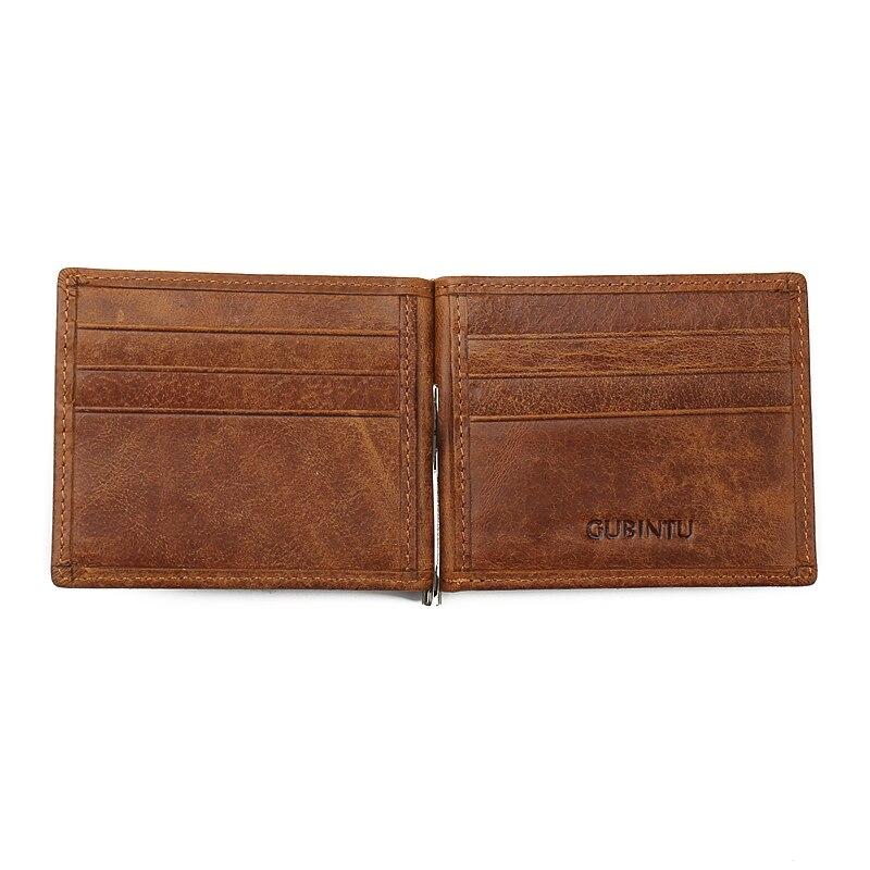 GUBINTU Brand Män Äkta Läder Bifold Purse Handväska Plånbok - Plånböcker - Foto 4
