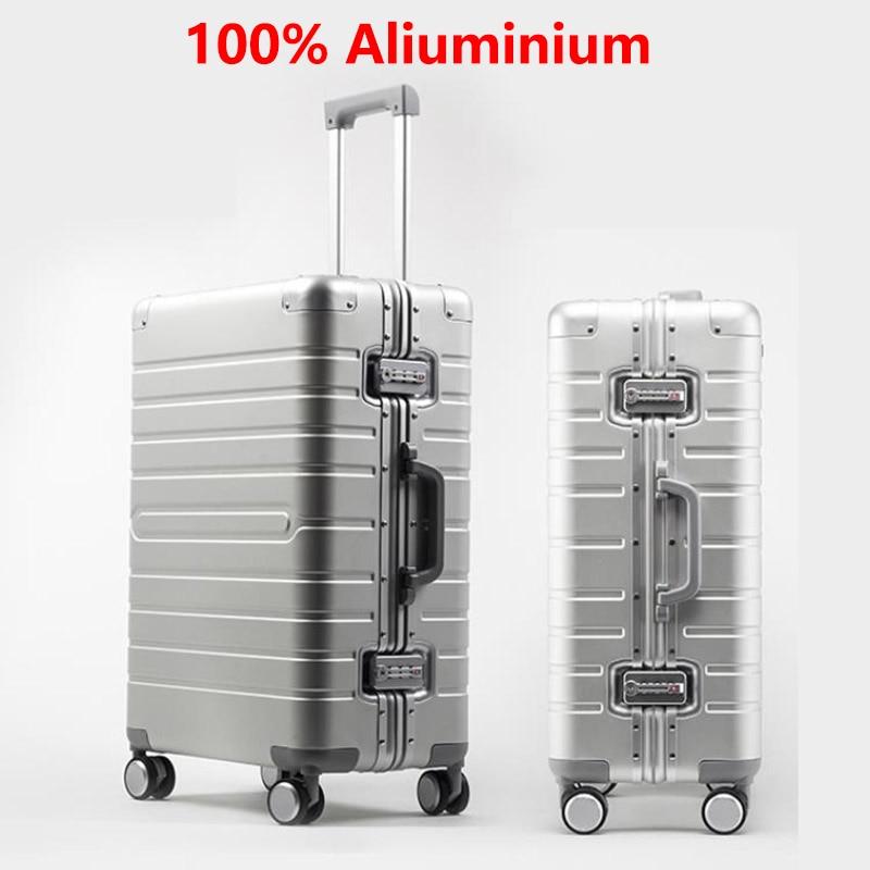 LEINASEN Cheap 100% Aluminum Travel Suitcase 24