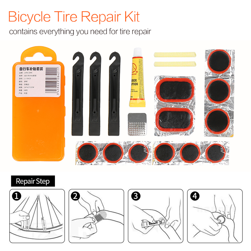 1 Set Bicycle Tire Repair Tools Bike Tyre Rubber Puncture Patches Kit Portable Box-Packed Outdoor Cycling Accessories