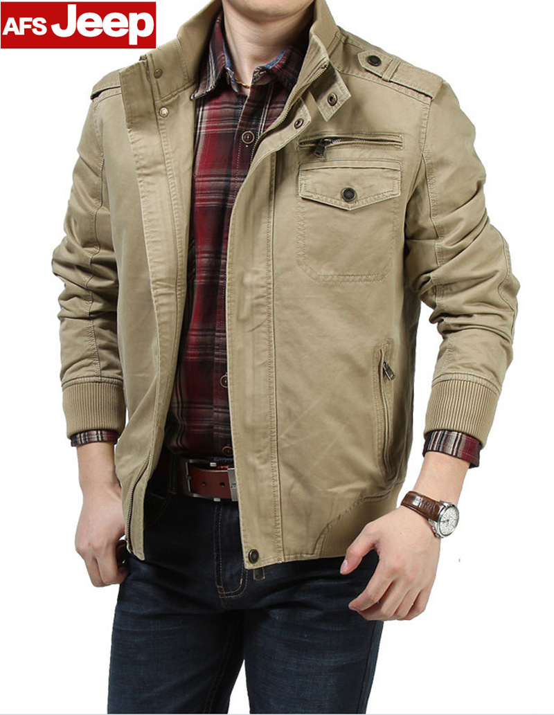 AFS JEEP Brand 2017 Khaki and Army Green Colors Men autumn Cotton Coat plus size M-3XL jacket men Jackets Cargo Military Coats