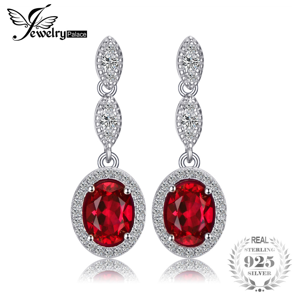 JewelryPalace Oval 4ct Created Red Created Ruby Drop Earrings Real 925 Sterling Silver Wedding Jewelry Trendy Earrings For WomenJewelryPalace Oval 4ct Created Red Created Ruby Drop Earrings Real 925 Sterling Silver Wedding Jewelry Trendy Earrings For Women
