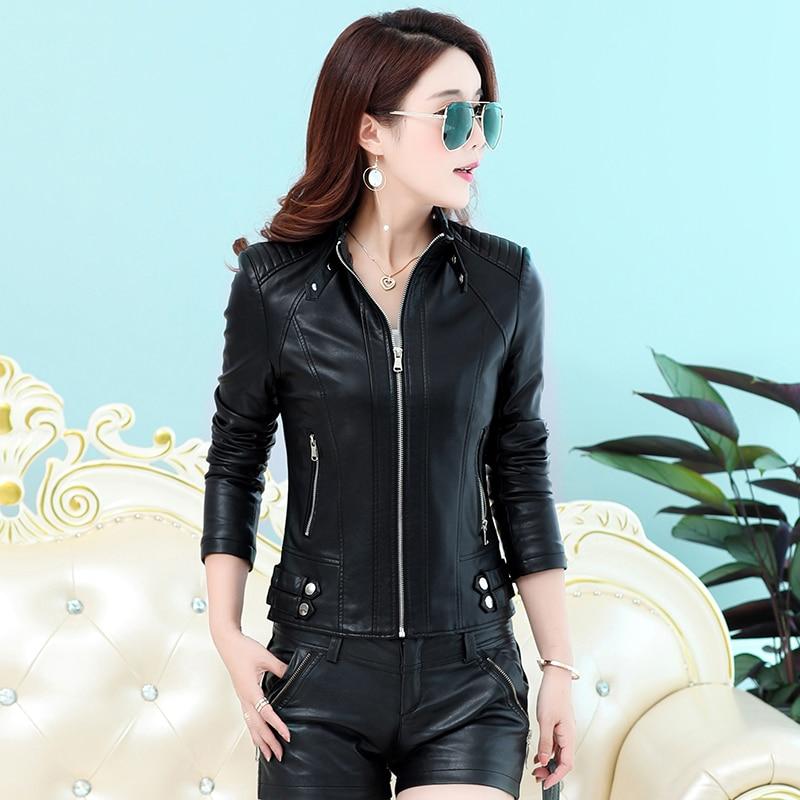 SWREDMI Spring And Autumn Casual Leather Jacket Women Motorcycle Leather Coat Slim Short Feminino Clothing Outerwear