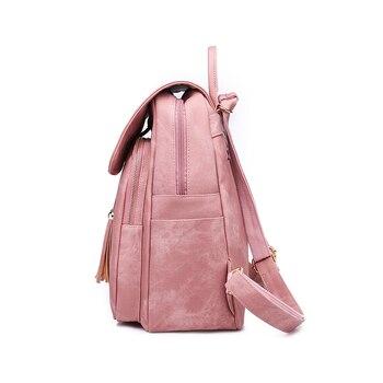 DIDABEAR Fashion 2pcs Set Bag Women Leather Backpack School Backpacks For Teenage Girls Female Tassel Rucksack Bolsas Mochilas
