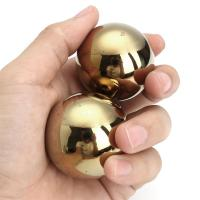 [ Fly Eagle ] 2pcs Jade Stone Hand Vola Ball 50mm Gold Smooth Healing Sphere Body Massager
