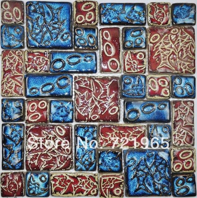 Hand Craft Porcelain Mosaic Kitchen Backsplash Wall Tile Pcmt077 Blue Red Ceramic Bathroom Tiles
