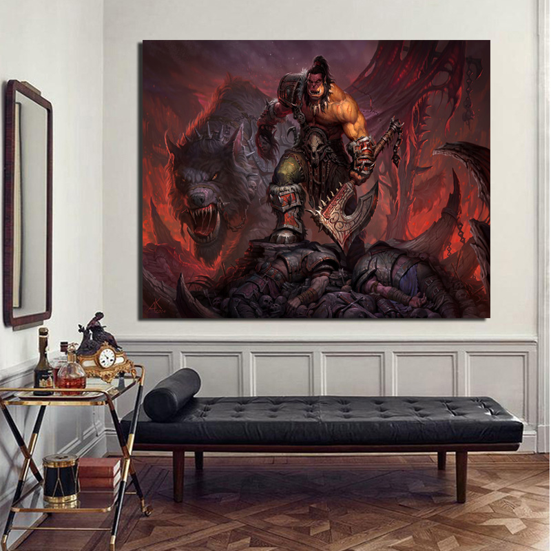 World Of Warcrafts Grommash Hellscream Wallpaper Canvas Painting Living Room Home Decoration Modern Wall Art Oil Painting Poster in Painting Calligraphy from Home Garden
