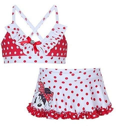 2013 New Arrival Children Gilr's cute cartoon Minnie Mouse 2 pieces sets bikini swimming suit, pink polka dot swim wear