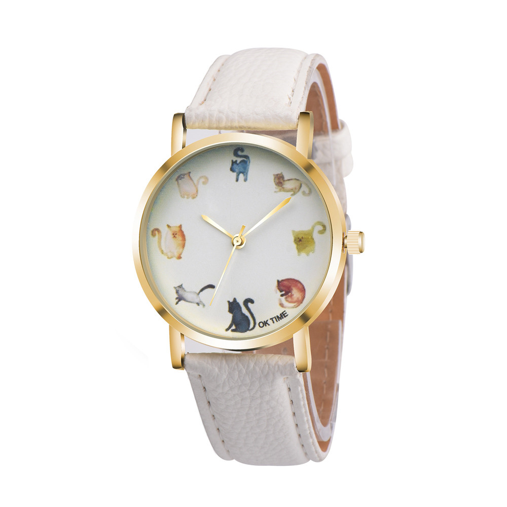 Best Selling Cute Cat Printing Dial Women Watch Luxury Brand Ladies Quartz Wristwatch Leather Strap Casual Watch Clock Relogio#B