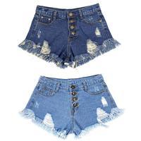 European And American BF Summer Wind Female Blue High Waist Denim Shorts Women Worn Loose Burr