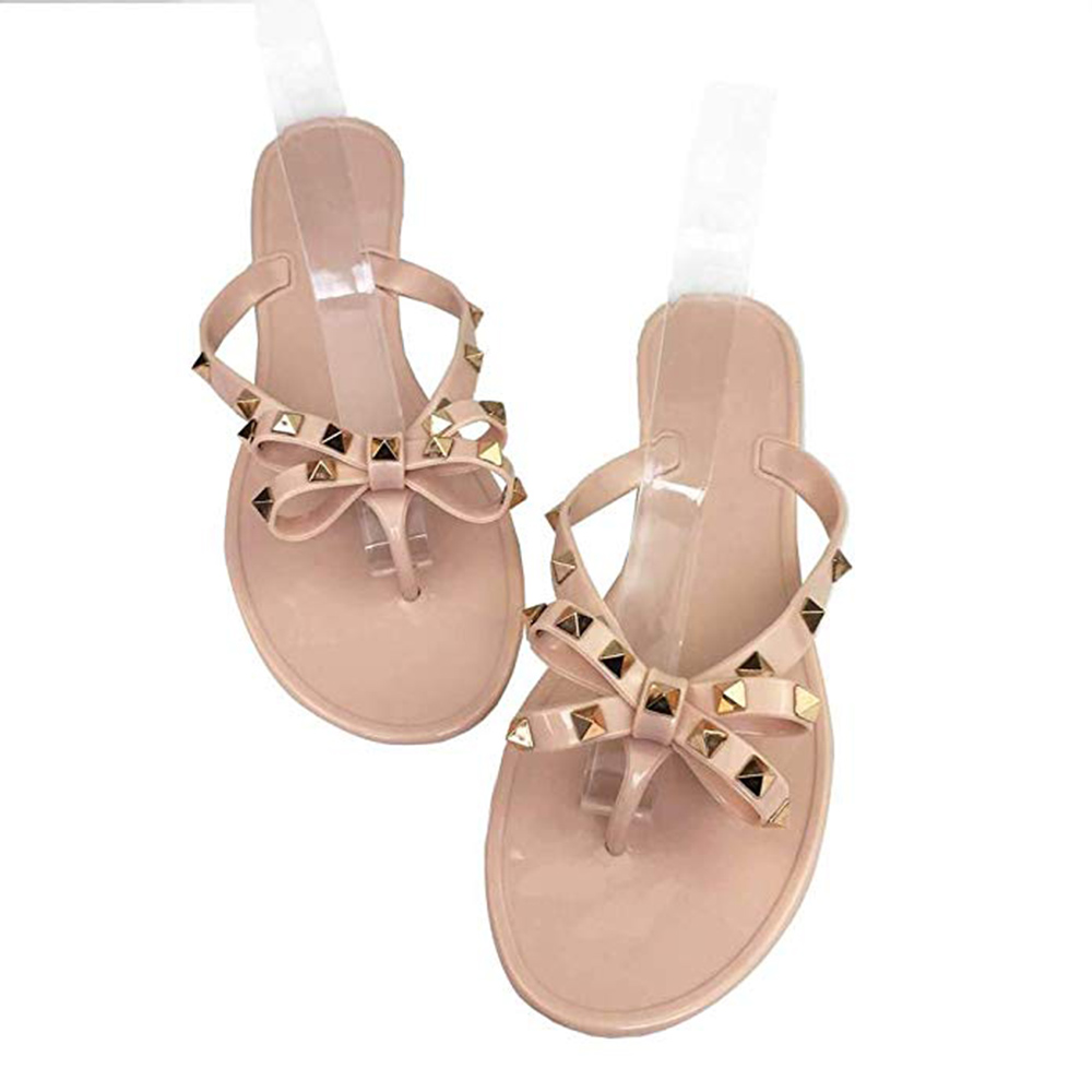 Women Sandals Rivets Bowtie Flip Flops Studded Jelly Thong Sandal Rubber Flat Summer Beach Rain Shoes
