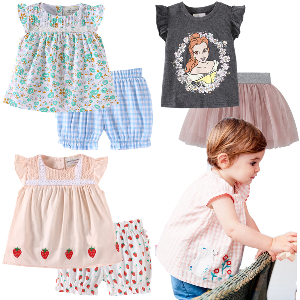 Miss Haiwo Model 2019 New Summer time Model child children women O-neck 100% Cotton Embroidery Cartoon Full Flower Informal clothes set Clothes Units, Low cost Clothes Units, Miss Haiwo...