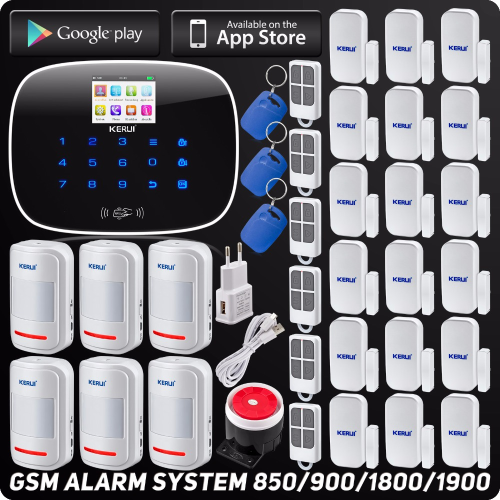 GSM ISO Android App Control Wireless Home Security Alarm System Quard Band SMS RFID Autodial SMS Detector Kit with Motion Sensor home security quad band gsm sms alarm system w detector sensor kit remote control white